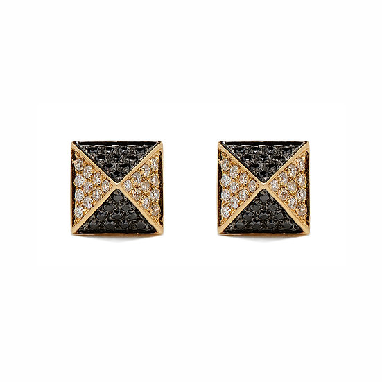 Two Tone Pyramid Earrings Large