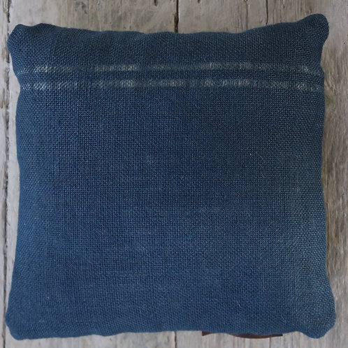 Navy black leather and hessian cushion