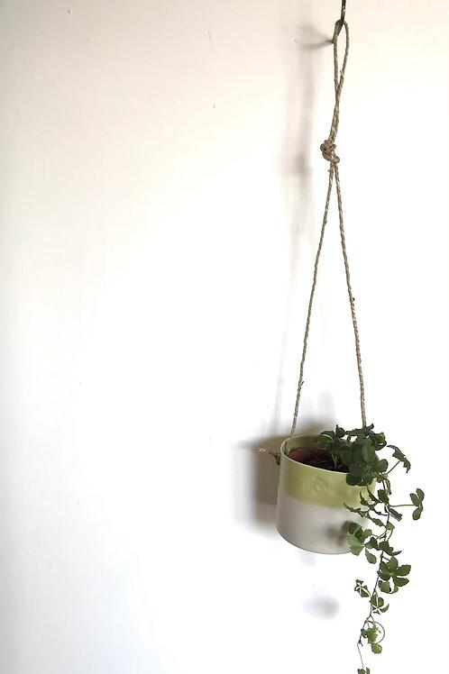 Porcelain hanging planter with lime glaze