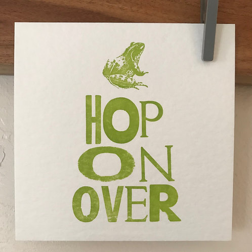 'Hop On Over' postcard