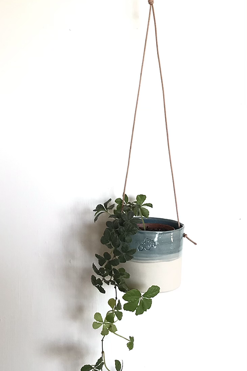 Porcelain hanging planter with teal glaze