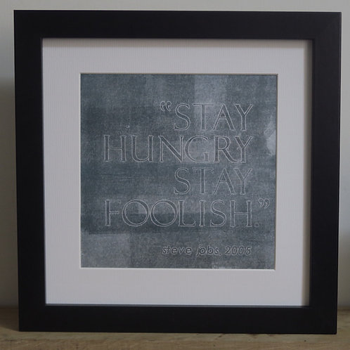 Framed collograph print on fabric