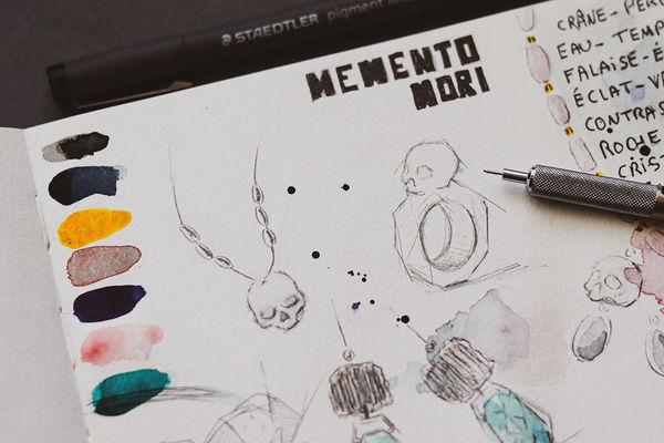 Jewellery design and sketching - Memento Mori - Staedtler - Camille Estivals