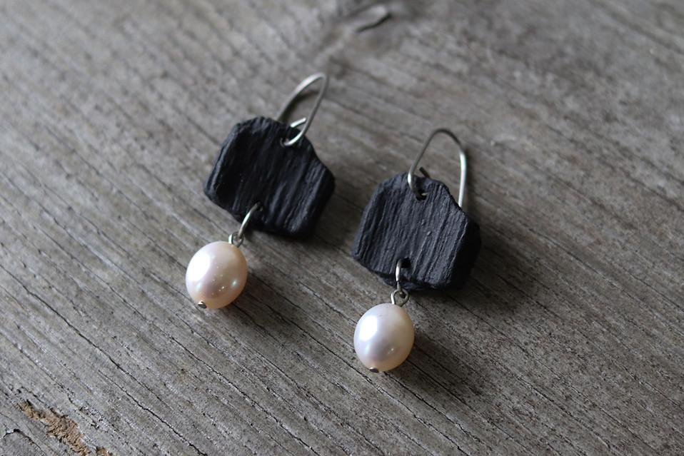 Boucles d'oreilles en porcelaine acier inox et perles de culture - Camille Estivals