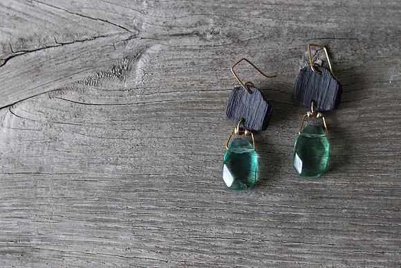 Boucles d'oreilles porcelaine noire et pierres fines - Camille Estivals