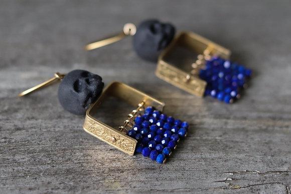 Porcelain earrings - Skull - Lapis lazuli - Camille Estivals