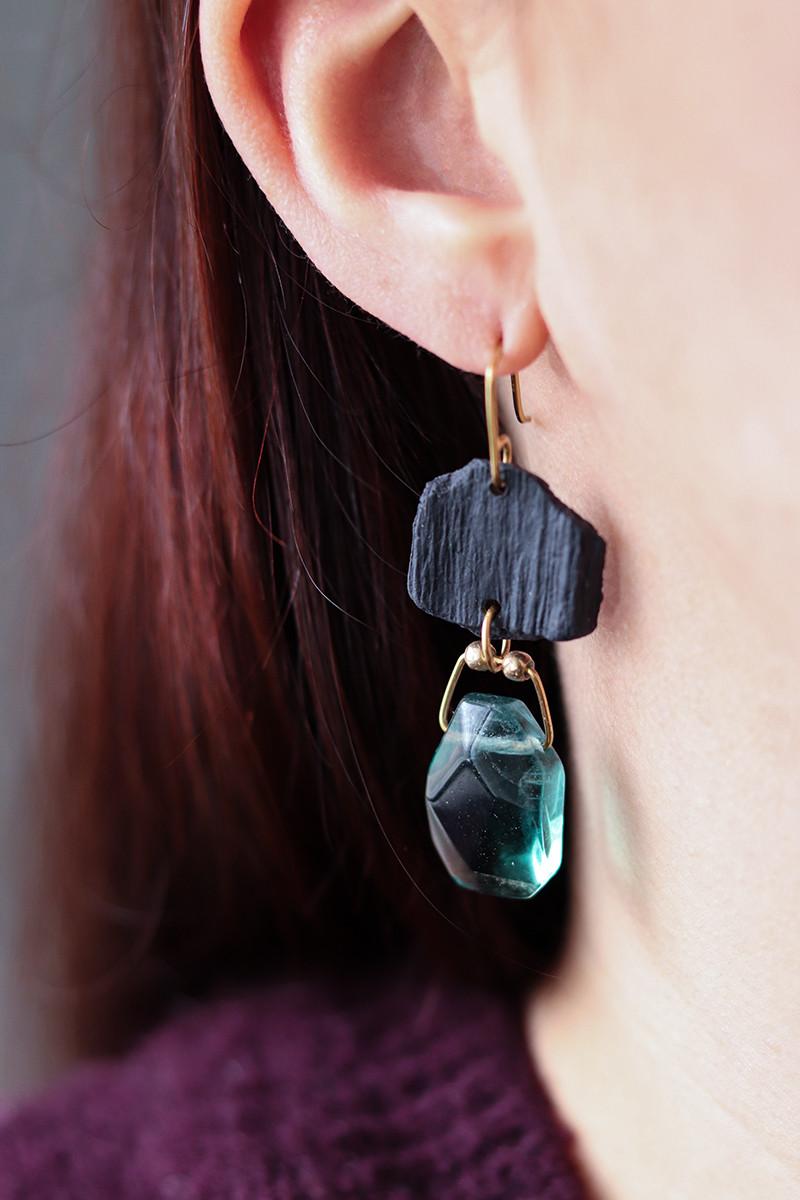 Boucles d'oreilles en porcelaine et fluorine - Camille Estivals