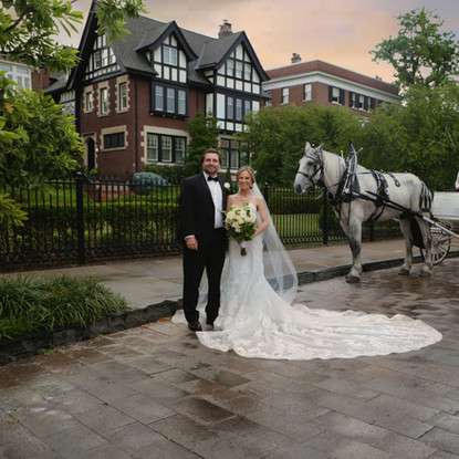 Bride & Groom with horse and carriage in the Centrel West of St. Louis