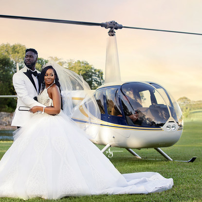 Bride and Groom helicopter photo session at SunSet Bluff in Washington, MO.