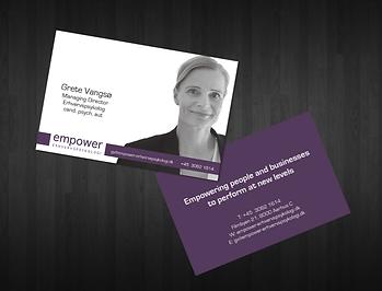 Visitkort med foto for EMPOWER erhvervspsykologi