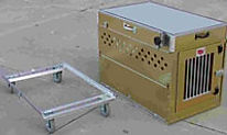 Folding Aluminum Dog Crate and dolly