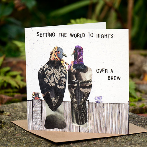 Over A Brew Pigeons Stokie Greetings Card