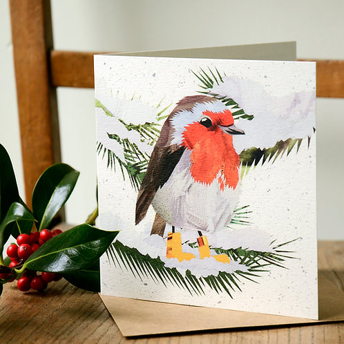 Welly Wearing Robin Christmas Card