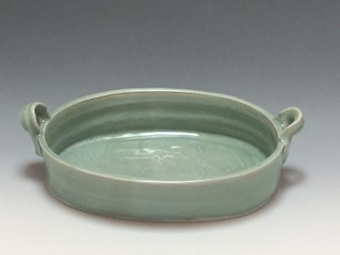 Oval casserole, blue-green celadon