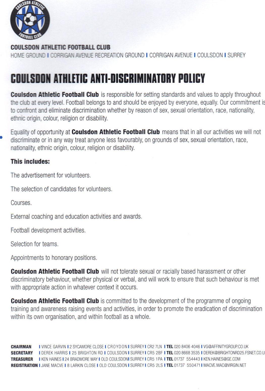 Anti discriminatory policy
