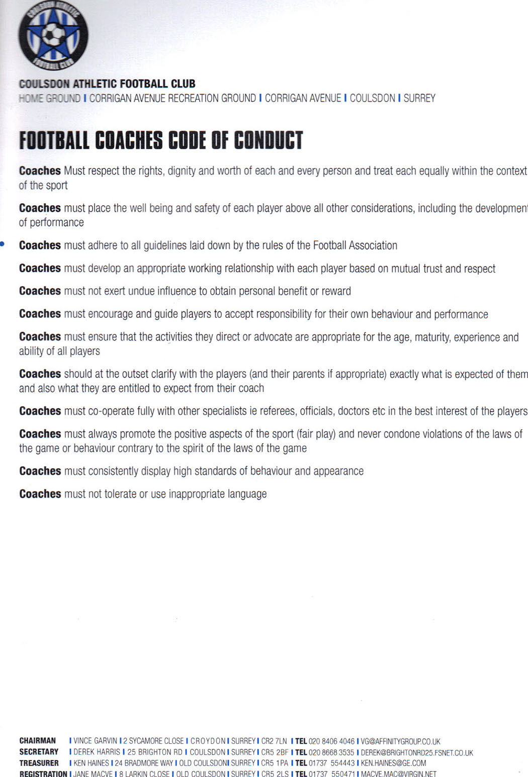 Coaches code of conduct