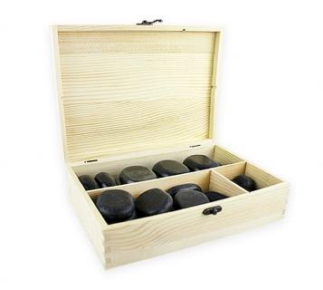Set 45 Piedras de Basalto con Caja de Madera