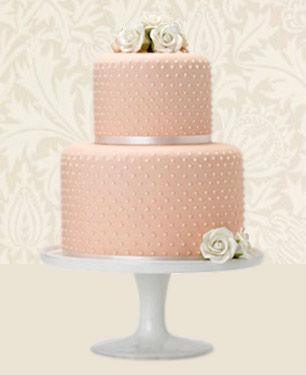 Peach Pearl Wedding Cake