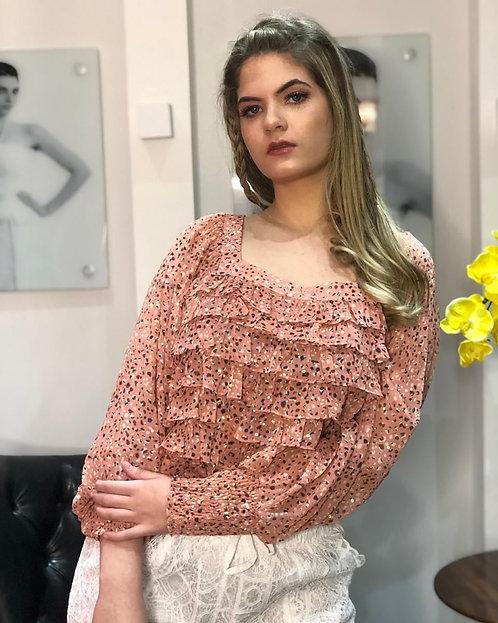 Blusa Soraia Rose Gold com Babados