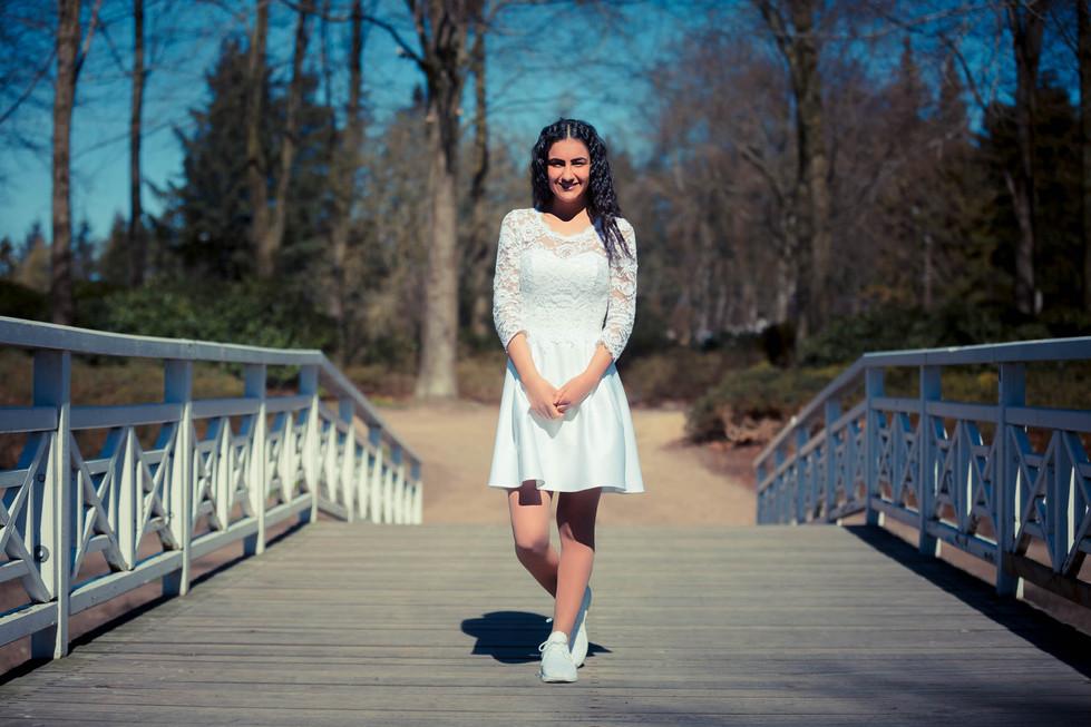 Pretty confirmation girl at bridge