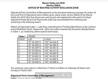 Gippsland Ports Notice of Boating Activi