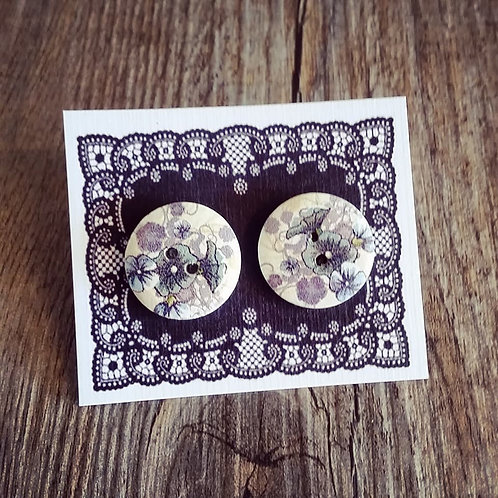 steel blue trumpet flower 18mm button studs