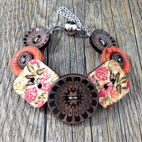 peony blossom button bracelet