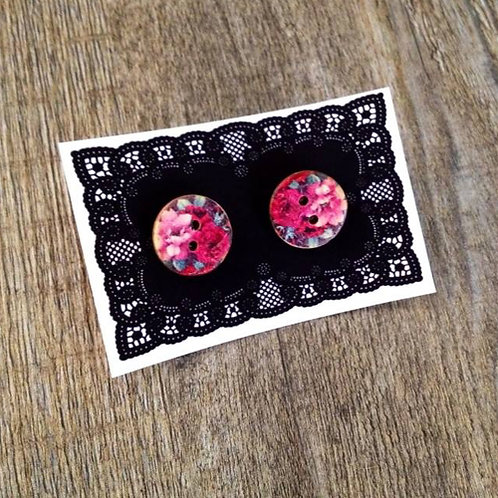 vintage roses 15mm button studs