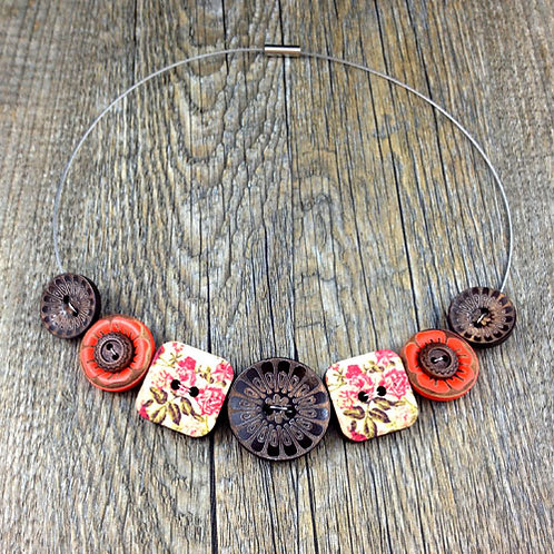 orange and pink peony cable necklace