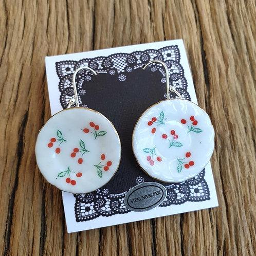 cherries side-plate earrings