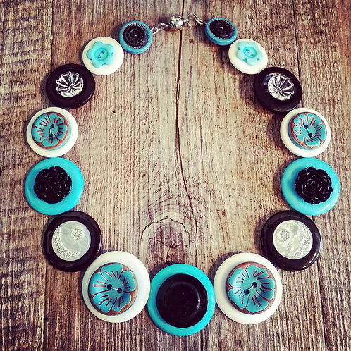 turquoise white and black
