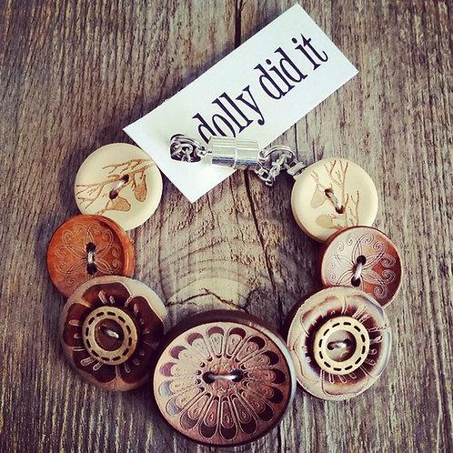 knock on wood button bracelet