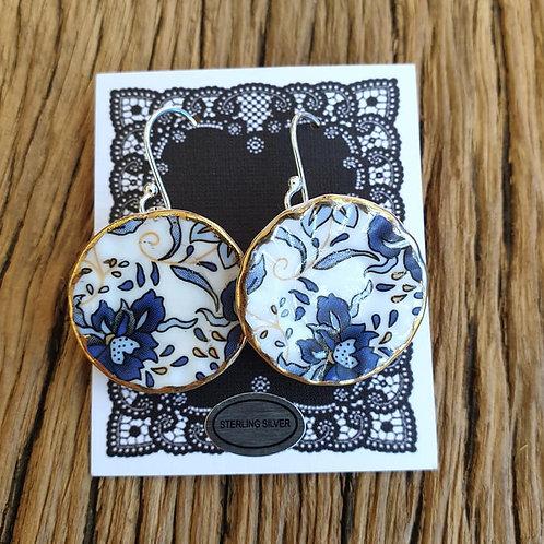 blue baroque side-plate earrings