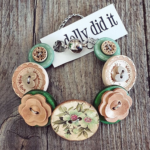 graceful greenery button bracelet