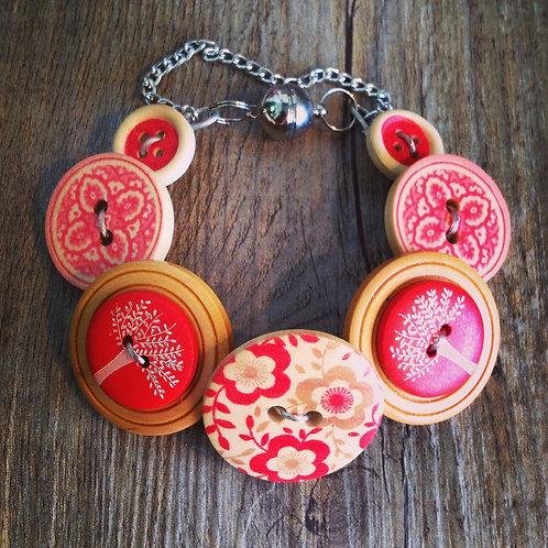 red floral trees button bracelet