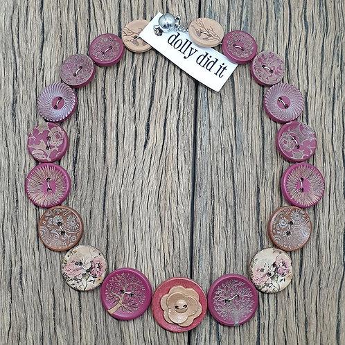 Plum Button Necklace 3