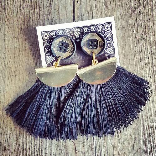 geometric black tassel earrings