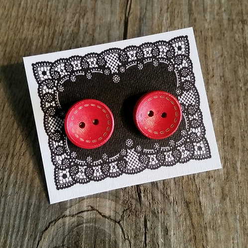 Red stitched up 15mm button studs