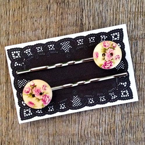 pink rose bobby pins