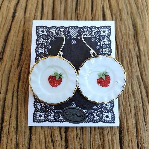 strawberry shortcake side-plate earrings