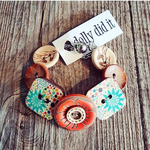 orange starburst button bracelet