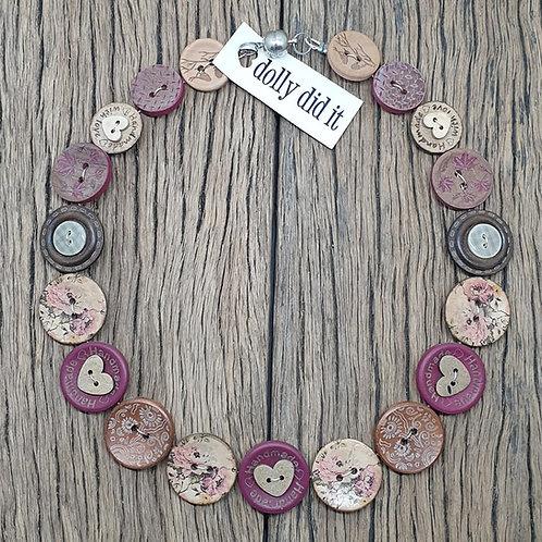 Plum w/-Hearts Button Necklace 2