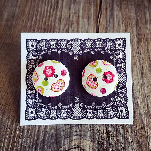 daisy hearts 18mm button studs
