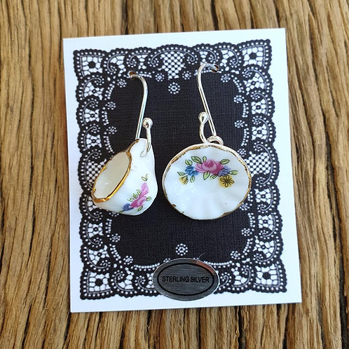 pink rose cup & saucer earrings