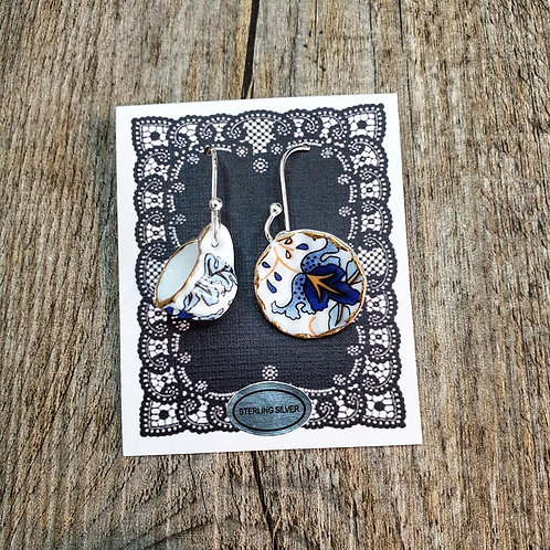 blue baroque cup & saucer earrings