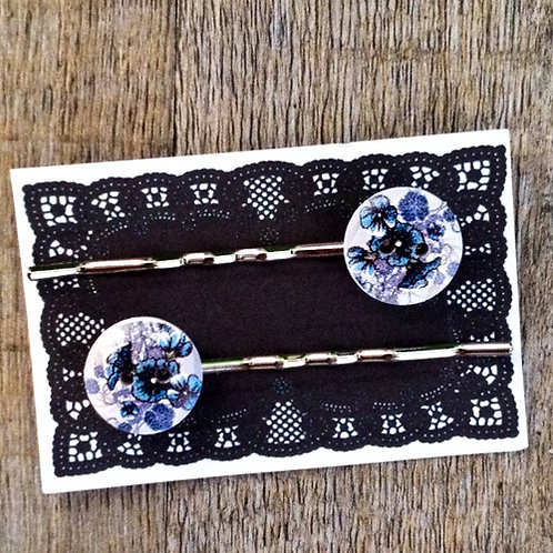 midnight floral bobby pins