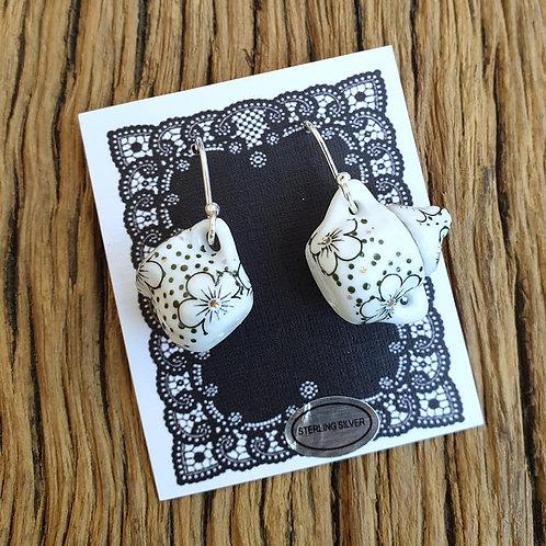 gunmetal flowers milk & sugar earrings
