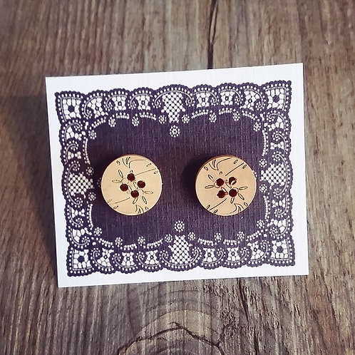 etched floral 13mm button studs