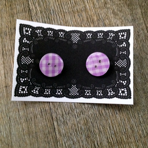 lilac gingham 13mm button studs