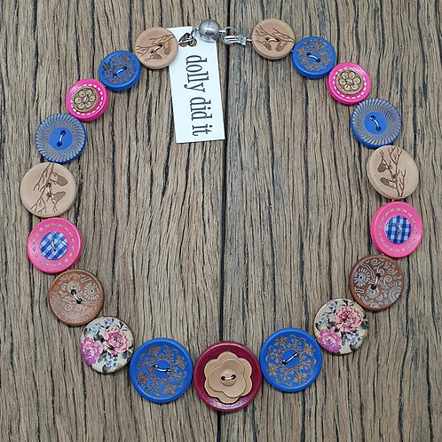 Roses are Blue Button Necklace 2